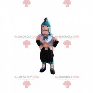 Mascota guerrera romana con casco azul y armadura. -