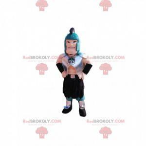 Rzymski wojownik maskotka z niebieskim hełmem i zbroją -