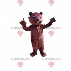 Mascotte castoro marrone con un piccolo muso - Redbrokoly.com