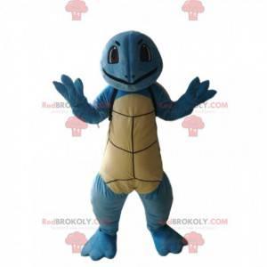 Lächelndes blaues Schildkrötenmaskottchen. Schildkrötenkostüm -