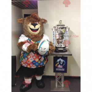 Medvěd hnědý maskot celý chlupatý s barevným sportovním