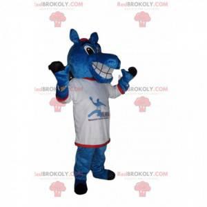 Mascote do cavalo azul alegre com uma camisa de torcedor -