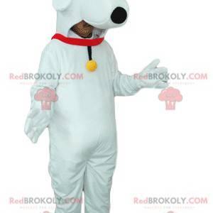 Biały pies maskotka z czerwonym kołnierzem i dzwonkiem -