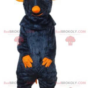 Graues Rattenmaskottchen mit orangefarbener Schnauze -