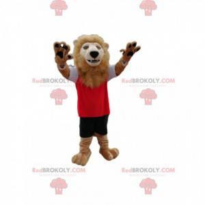 Maskot Lion s jeho krásnou hřívou, ve sportovním oblečení -