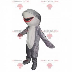 Mascote tubarão cinza e branco muito feliz. Fantasia de tubarão