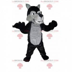 Maskottchen schwarzer und grauer Wolf. Wolfskostüm -