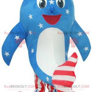 Mascote golfinho em vestido americano azul, branco e vermelho -