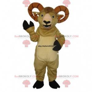 Mascote de cabra bege com chifres soberbos. Fantasia de cabra -