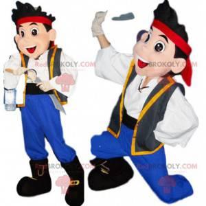Mascote pirata com uma grande espada. Fantasia de pirata -