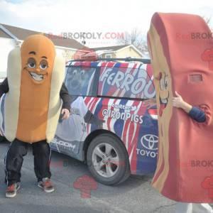 Gigantyczna biało-pomarańczowa maskotka hot dog - Redbrokoly.com