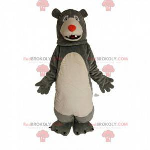 Gray and white bear mascot with a red muzzle - Redbrokoly.com