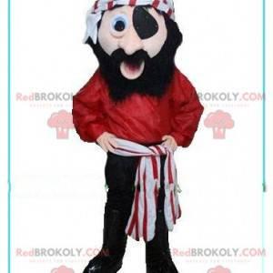 Mascote pirata sorrindo com um lenço vermelho e branco -