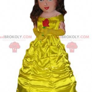 Mascot Princesee con un hermoso vestido amarillo. -