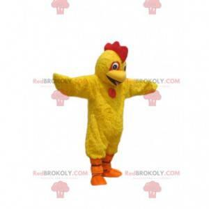 Super glückliches gelbes Hühnermaskottchen. Hühnerkostüm -