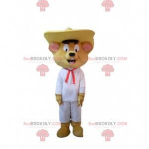 Glückliches Mausmaskottchen mit einem Sombrero. Mauskostüm -