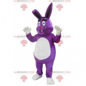Bardzo szczęśliwy fioletowy królik maskotka. Kostium króliczka