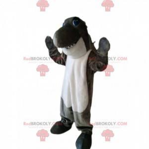 Super divertido mascote tubarão cinza e branco. Fantasia de