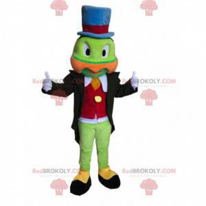 Grünes Heuschreckenmaskottchen mit einem bunten Kostüm. -