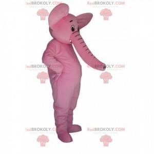 Mascotte elefante rosa molto felice. Costume da elefante -