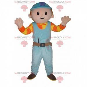 Handwerker-Maskottchen mit blauem Schutzhelm - Redbrokoly.com