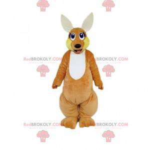 Mascotte di canguro marrone con uno sguardo attento -