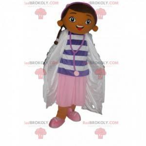 Maskot brunetka holčička oblečená jako zdravotní sestra -