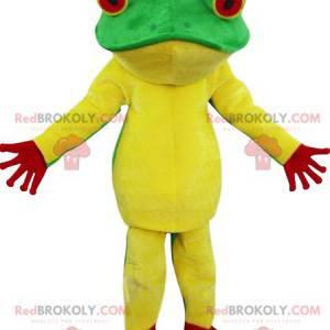 Grünes, gelbes und rotes Froschmaskottchen - Redbrokoly.com