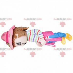 Flirtatious little girl mascot - with a pretty pink hat -