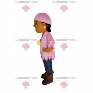 Mädchen Maskottchen böhmischen Stil, mit einem rosa Stirnband -