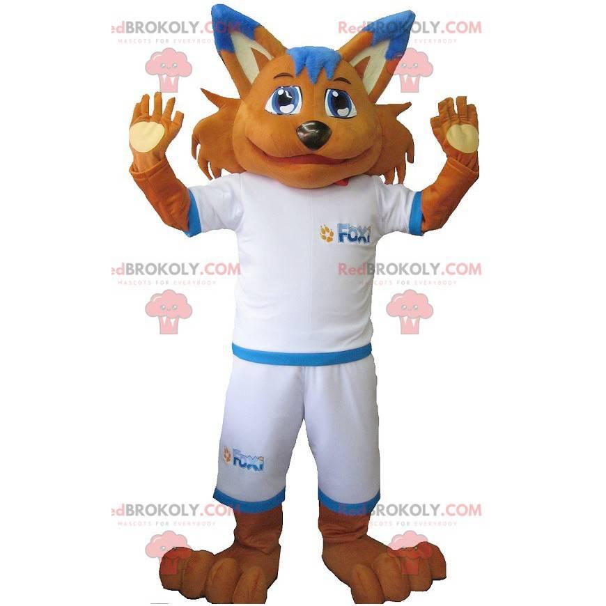 Pomarańczowy lis maskotka w odzieży sportowej - Redbrokoly.com