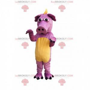 Mascota de cerdo dragón rosa muy divertida - Redbrokoly.com