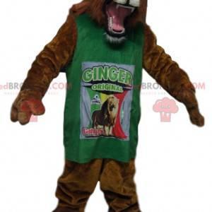 Fantastisches Löwenmaskottchen mit grünem Trikot -