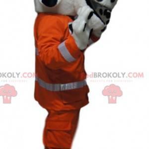 Dalmatian mascot with an orange work outfit - Redbrokoly.com