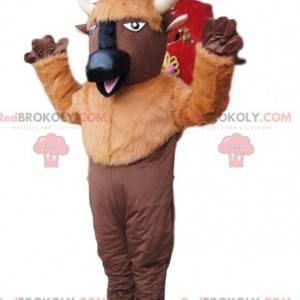 Brun bøffelmaskot med hvide horn - Redbrokoly.com