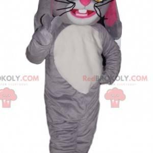 Maskot šedý a bílý králík povznesený s hezkými kníry -