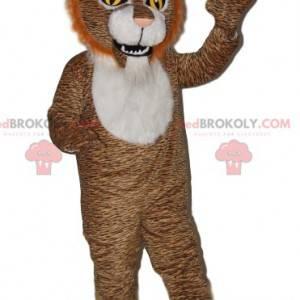 Maskot hnědý tygr s uhrančivýma očima - Redbrokoly.com