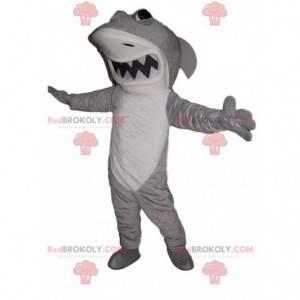 Mascote feroz tubarão branco e cinza - Redbrokoly.com