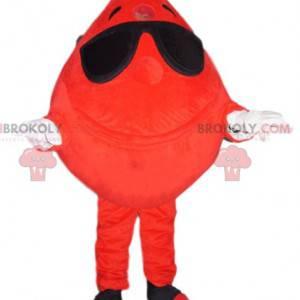 Veselý maskot kapky krve se slunečními brýlemi - Redbrokoly.com
