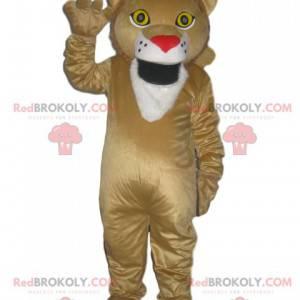 Beige Löwe des Maskottchens mit einer roten Schnauze in Form