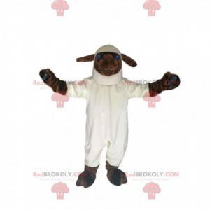 Mascote ovelha branca e marrom com grandes olhos azuis -