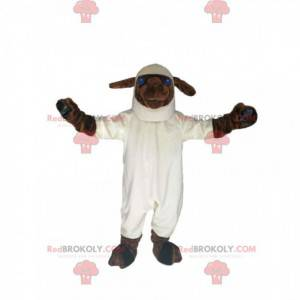 Maskot bílé a hnědé ovce s velkýma modrýma očima -