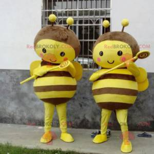 2 yellow and brown bee mascots - Redbrokoly.com