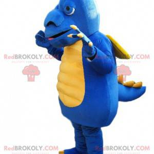 Blauwe en gele draakmascotte met een grote snuit -