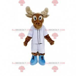 Mascote de rena marrom com roupa esportiva branca -