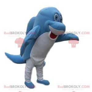Sehr lustiges blaues und weißes Delphinmaskottchen -