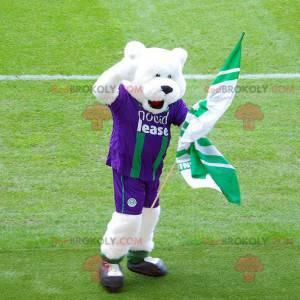 Maskot ledního medvěda ve fialovém a zeleném sportovním