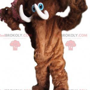 Cheerful brown mamouth mascot, with beautiful tusks -
