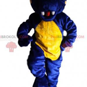 Mascote dinossauro azul meia-noite e amarelo - Redbrokoly.com