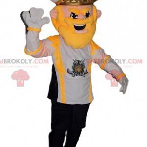 Mascotte guerriero vichingo con una maglia da tifoso -